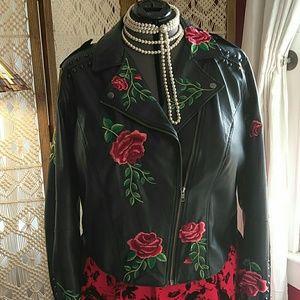 Torrid Rose embroidered moto jacket.